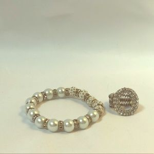 Jewelry - Stretchy Bracelet and Ring set - Faux Diamond